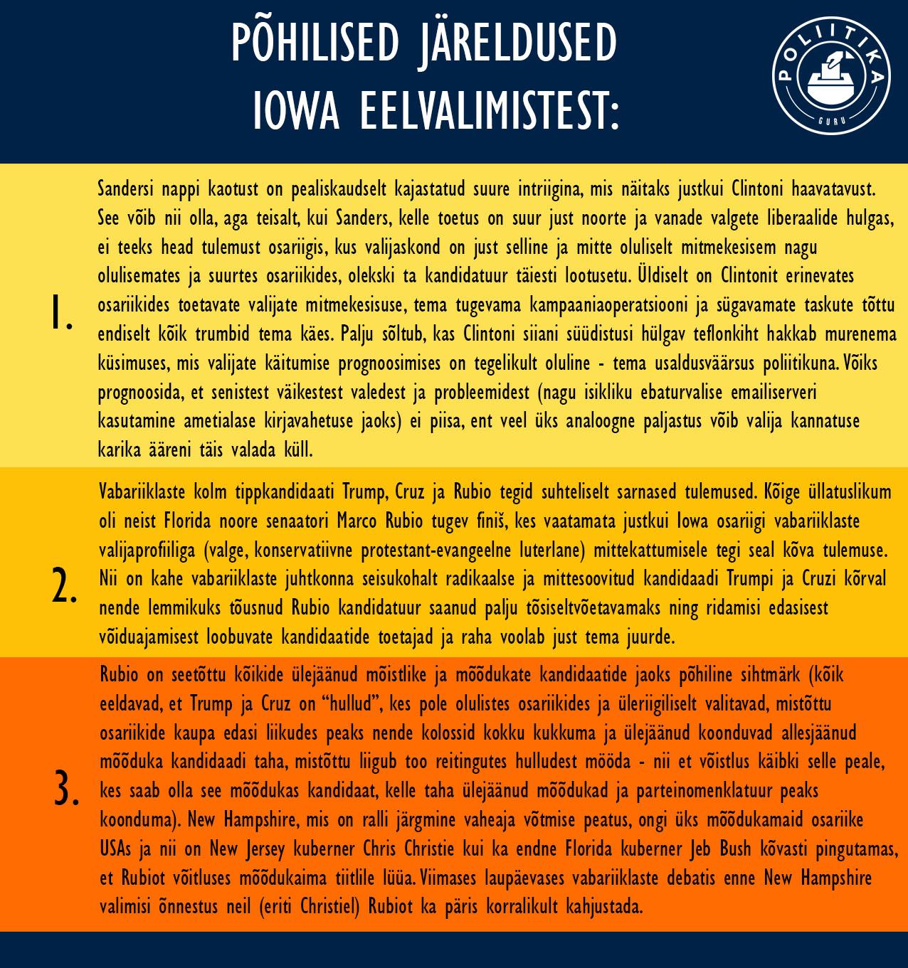 Iowa eelvalimiste peamised tulemused
