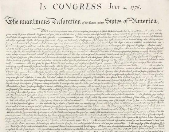1820. aastal tehtud trükiplaat Ameerika iseseisvusdeklaratsiooni paljundamiseks
